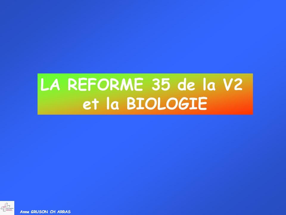 LA REFORME 35 de la V2 et la BIOLOGIE