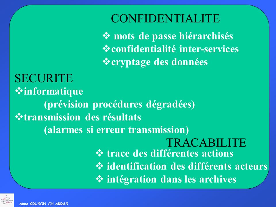 SIL CONFIDENTIALITE Confidentialité SECURITE TRACABILITE
