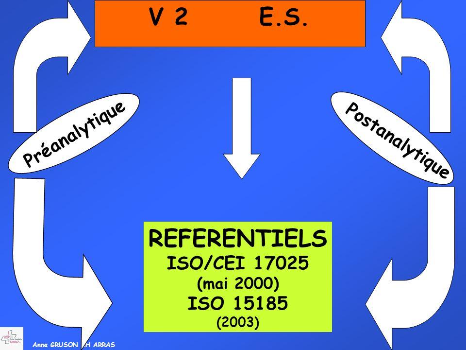 V 2 E.S. REFERENTIELS Préanalytique Postanalytique