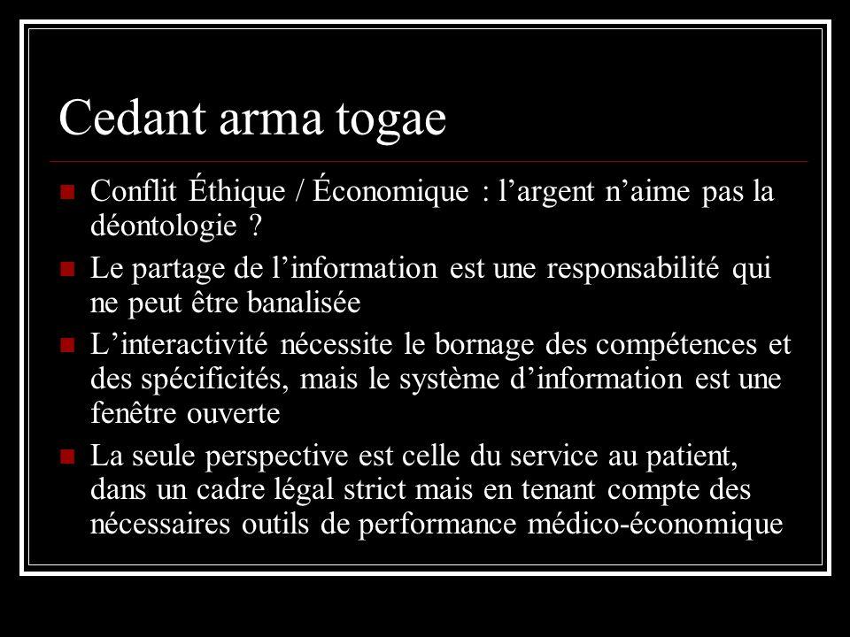 Cedant arma togae Conflit Éthique / Économique : l'argent n'aime pas la déontologie