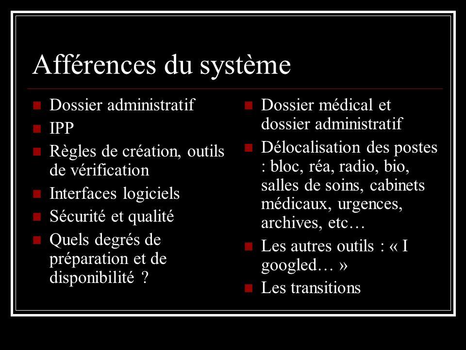 Afférences du système Dossier administratif IPP