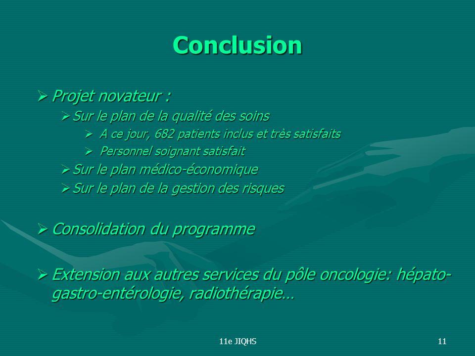 Conclusion Projet novateur : Consolidation du programme
