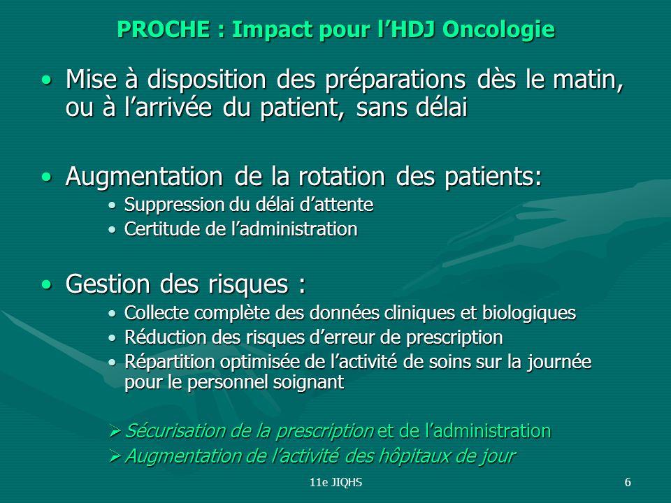 PROCHE : Impact pour l'HDJ Oncologie