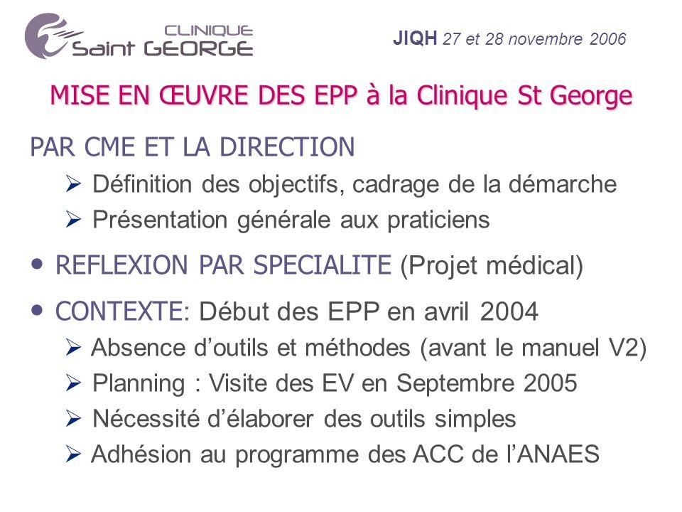 MISE EN ŒUVRE DES EPP à la Clinique St George