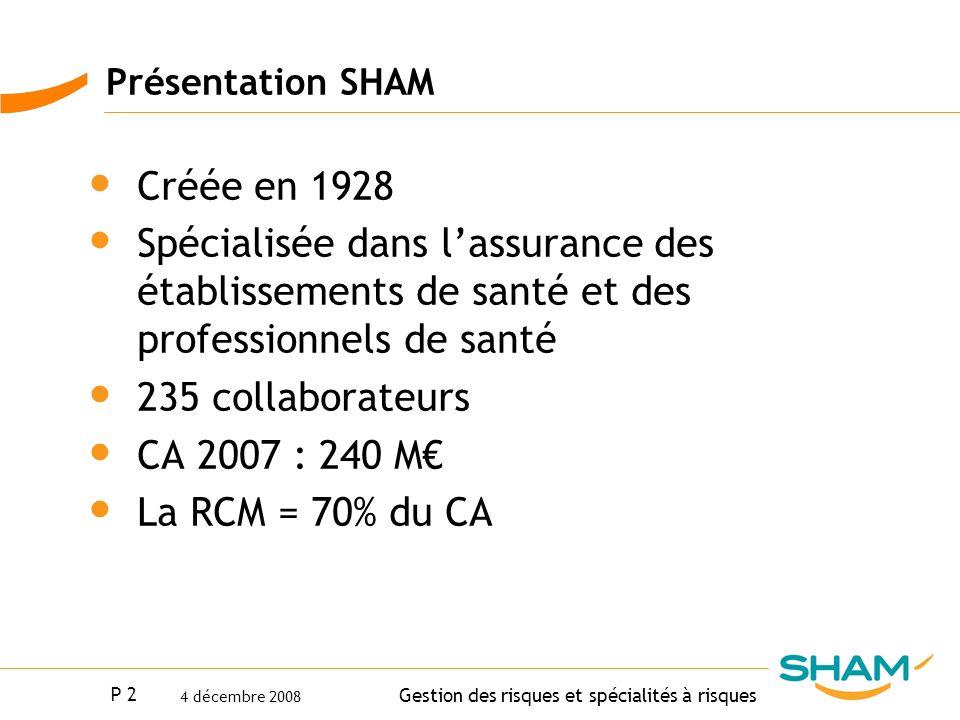 Présentation SHAMCréée en 1928. Spécialisée dans l'assurance des établissements de santé et des professionnels de santé.