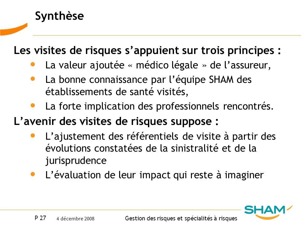 Synthèse Les visites de risques s'appuient sur trois principes :