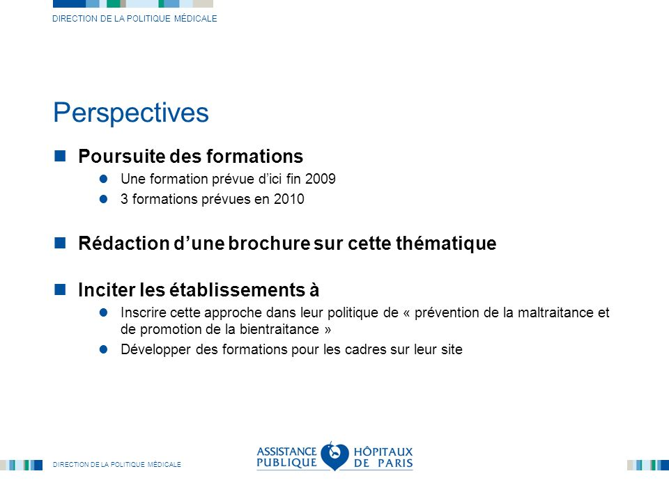 Perspectives Poursuite des formations