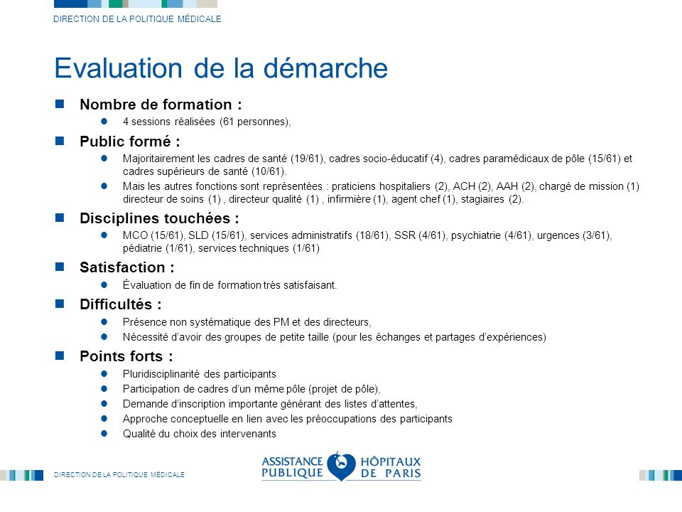 Evaluation de la démarche