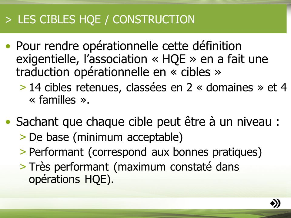LES CIBLES HQE / CONSTRUCTION