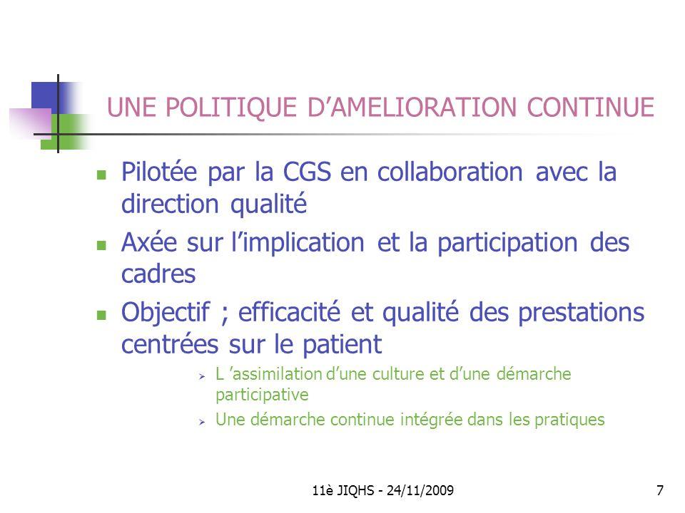 UNE POLITIQUE D'AMELIORATION CONTINUE
