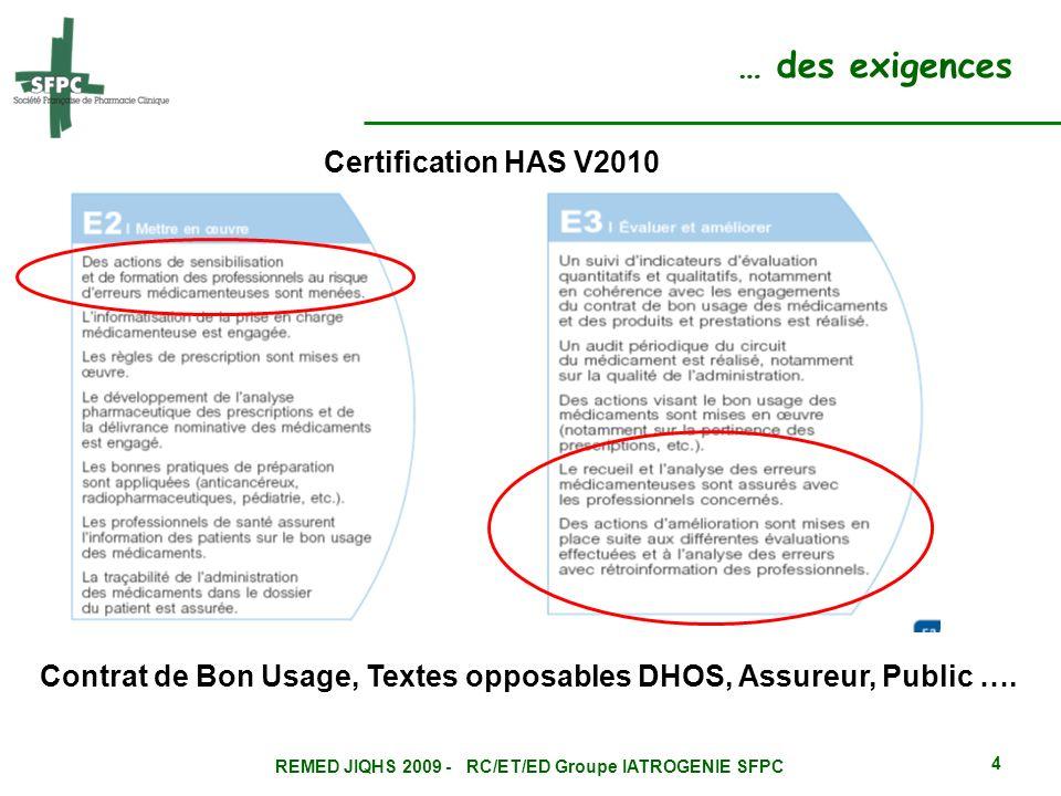 … des exigences Certification HAS V2010