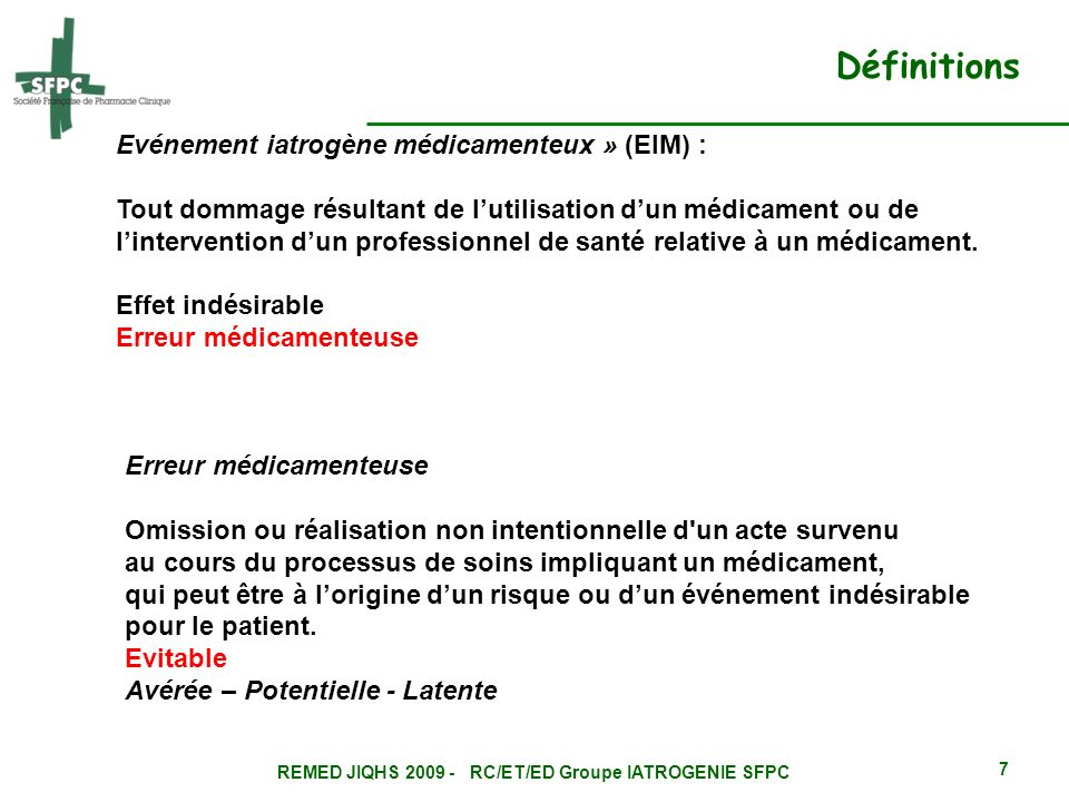 REMED JIQHS RC/ET/ED Groupe IATROGENIE SFPC