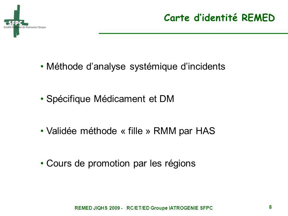 REMED JIQHS 2009 - RC/ET/ED Groupe IATROGENIE SFPC