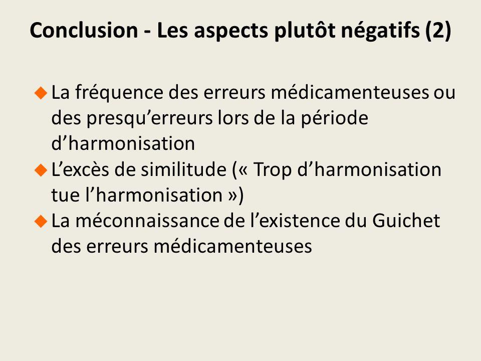 Conclusion - Les aspects plutôt négatifs (2)
