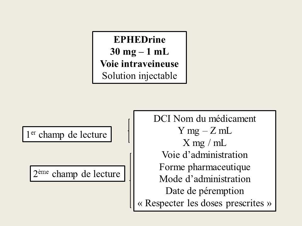 EPHEDrine 30 mg – 1 mL Voie intraveineuse