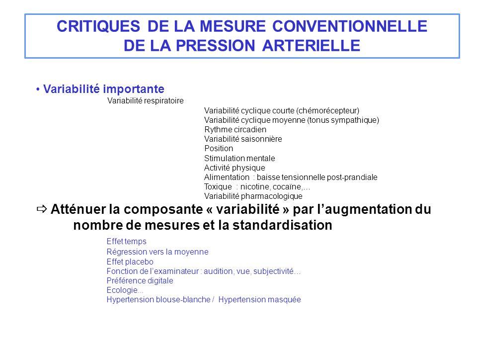 CRITIQUES DE LA MESURE CONVENTIONNELLE DE LA PRESSION ARTERIELLE