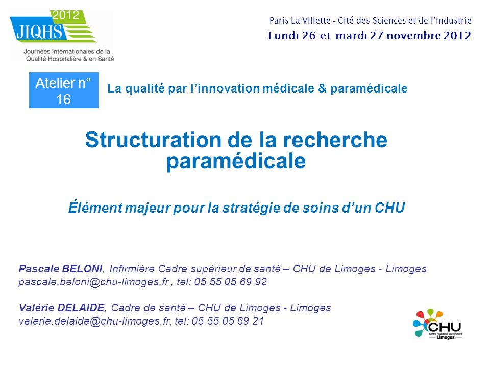 Structuration de la recherche paramédicale