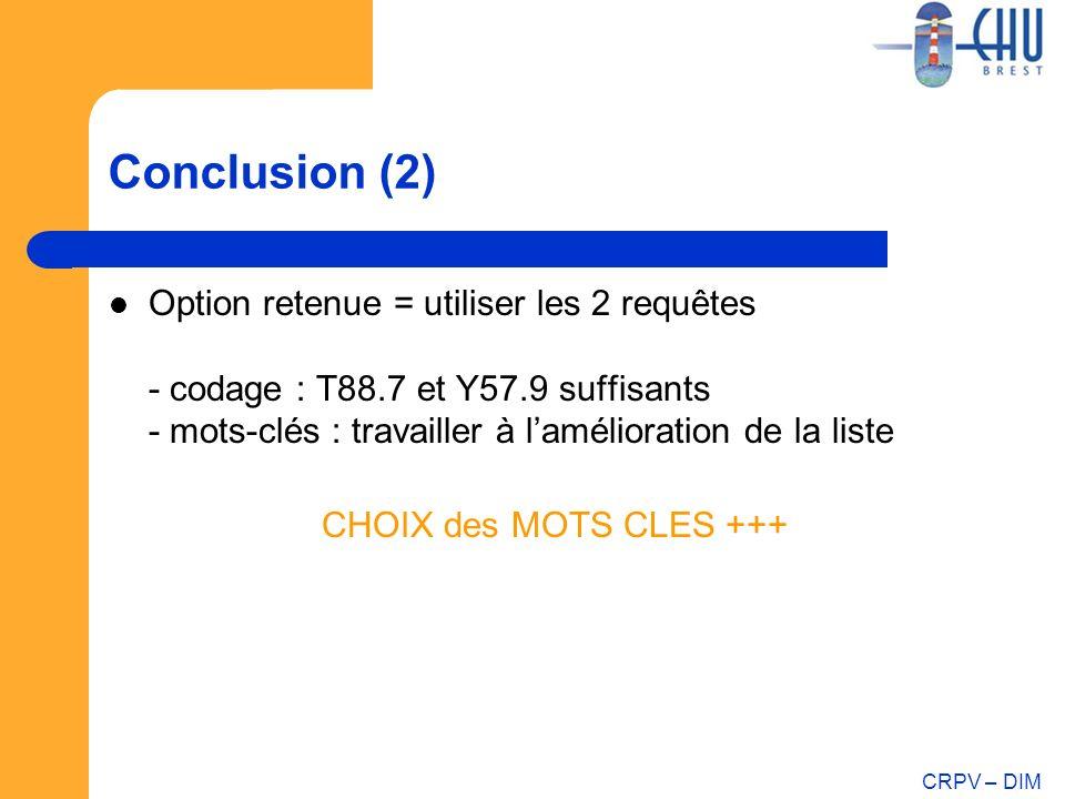 Conclusion (2) Option retenue = utiliser les 2 requêtes - codage : T88.7 et Y57.9 suffisants - mots-clés : travailler à l'amélioration de la liste.