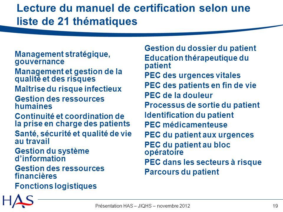 Lecture du manuel de certification selon une liste de 21 thématiques