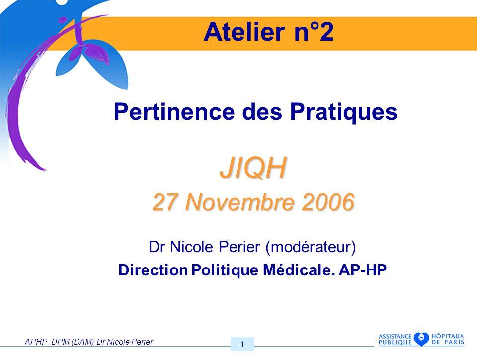 Pertinence des Pratiques Direction Politique Médicale. AP-HP