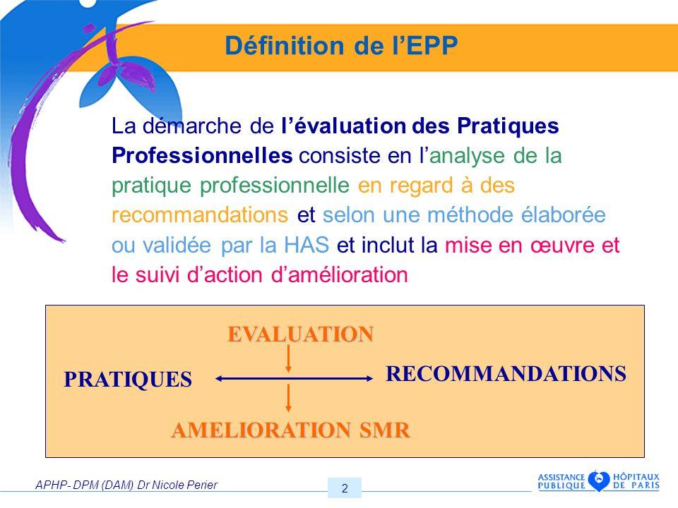 Définition de l'EPP EVALUATION RECOMMANDATIONS PRATIQUES