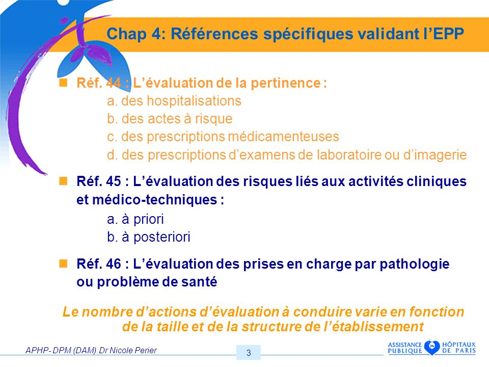 Chap 4: Références spécifiques validant l'EPP