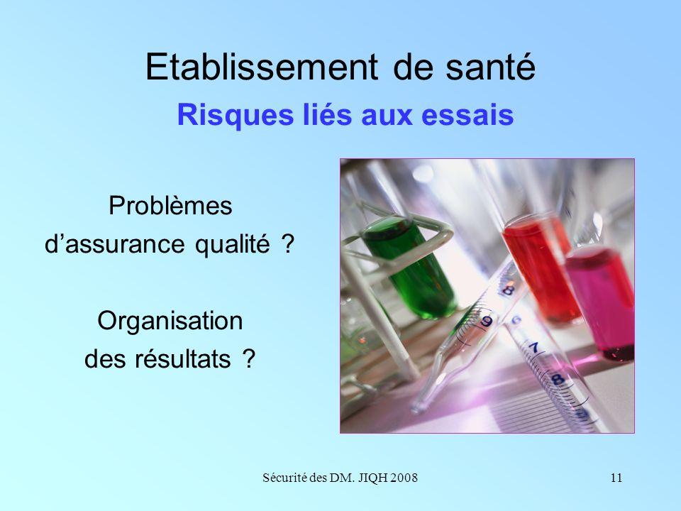 Etablissement de santé Risques liés aux essais