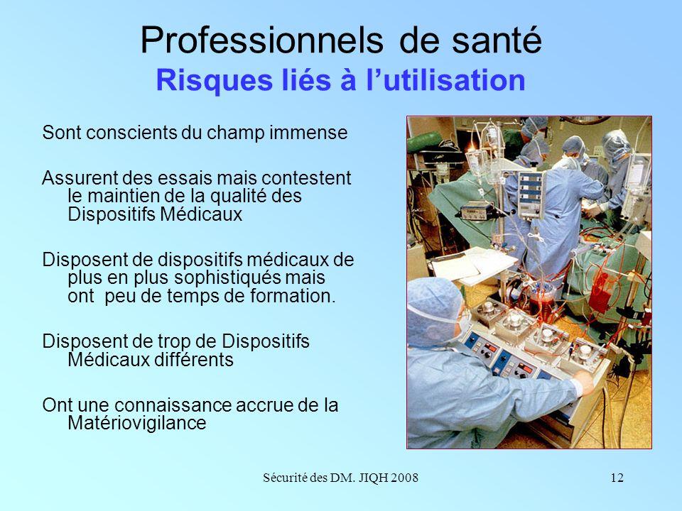 Professionnels de santé Risques liés à l'utilisation