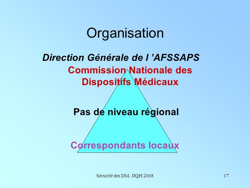 Organisation Direction Générale de l 'AFSSAPS