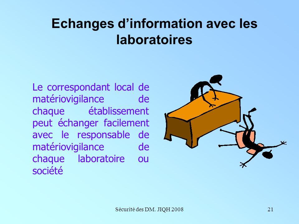 Echanges d'information avec les laboratoires
