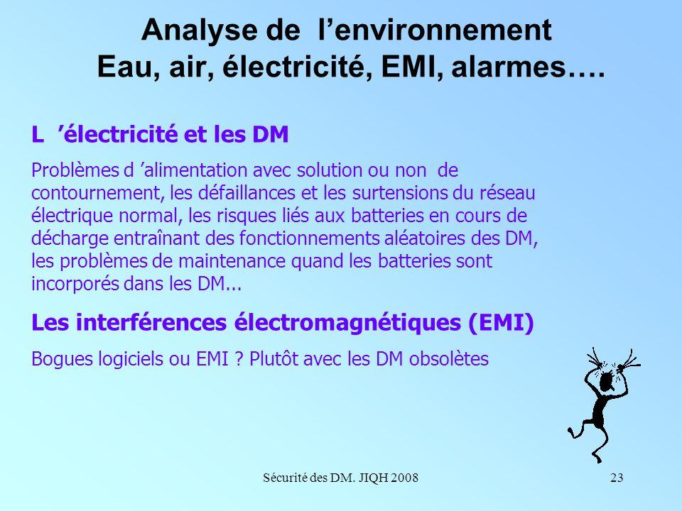 Analyse de l'environnement Eau, air, électricité, EMI, alarmes….