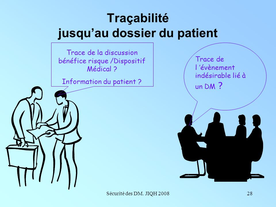 Traçabilité jusqu'au dossier du patient
