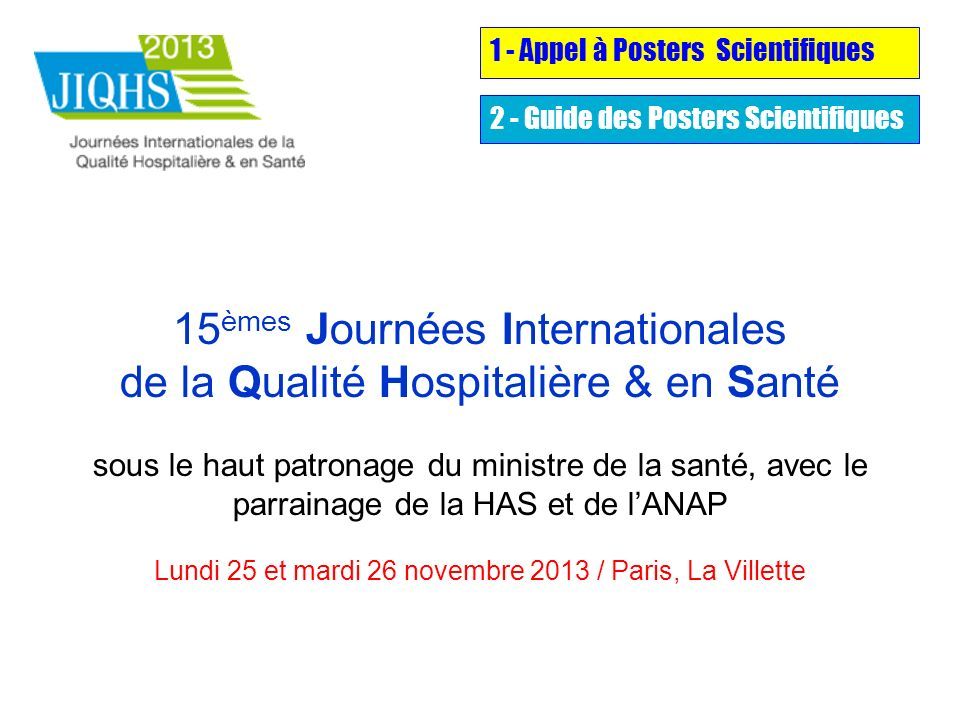 1 - Appel à Posters Scientifiques