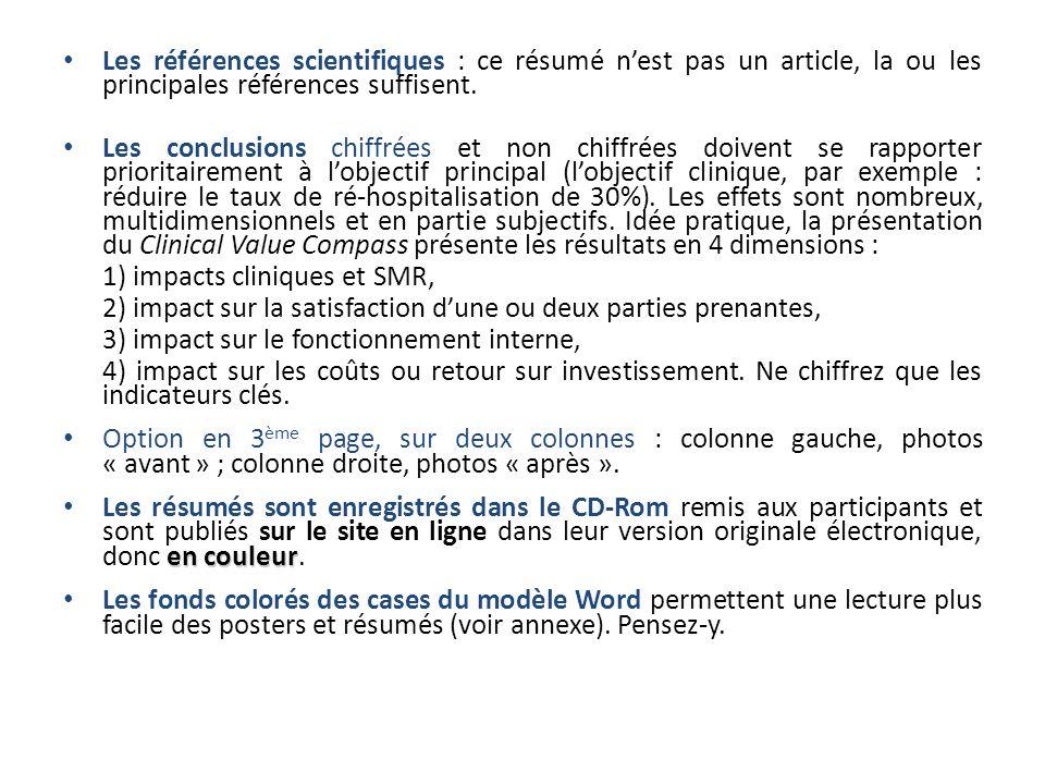Les références scientifiques : ce résumé n'est pas un article, la ou les principales références suffisent.