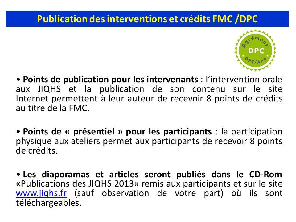 Publication des interventions et crédits FMC /DPC