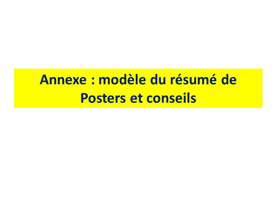 Annexe : modèle du résumé de Posters et conseils