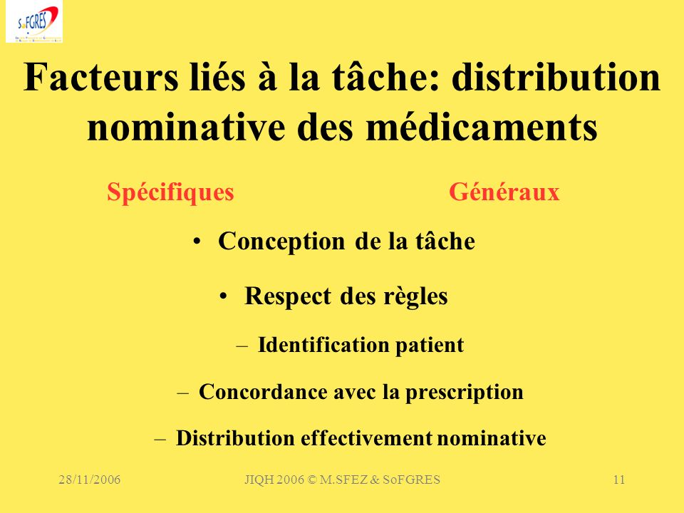 Facteurs liés à la tâche: distribution nominative des médicaments