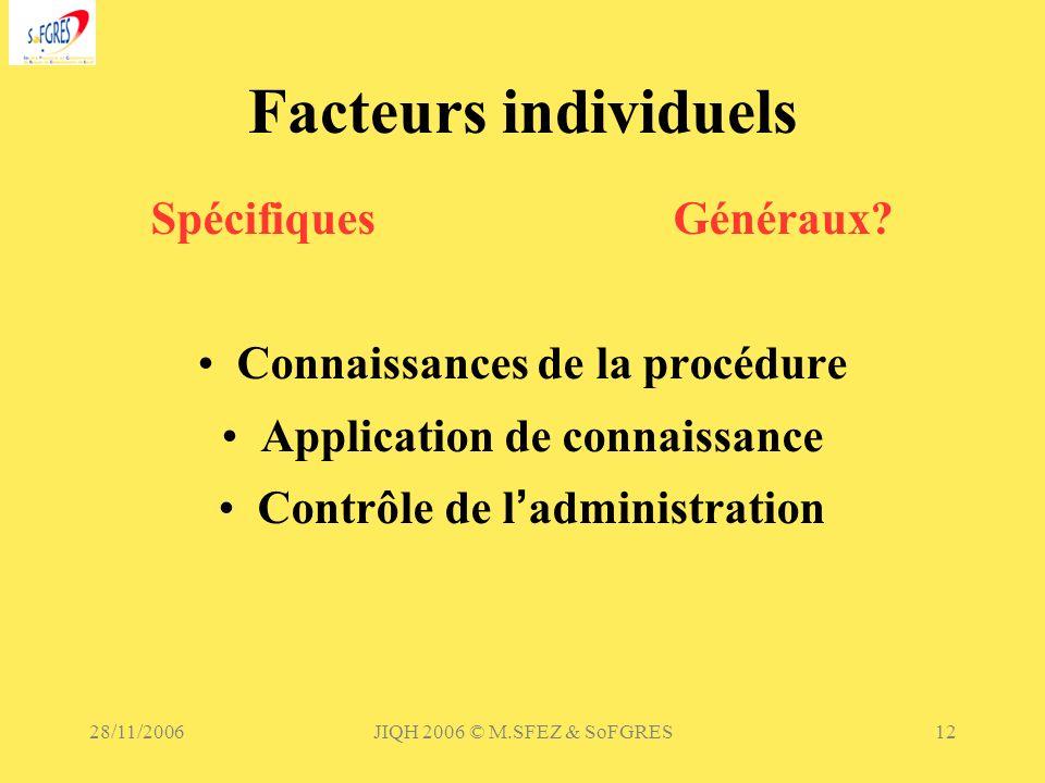 Facteurs individuels Spécifiques Généraux