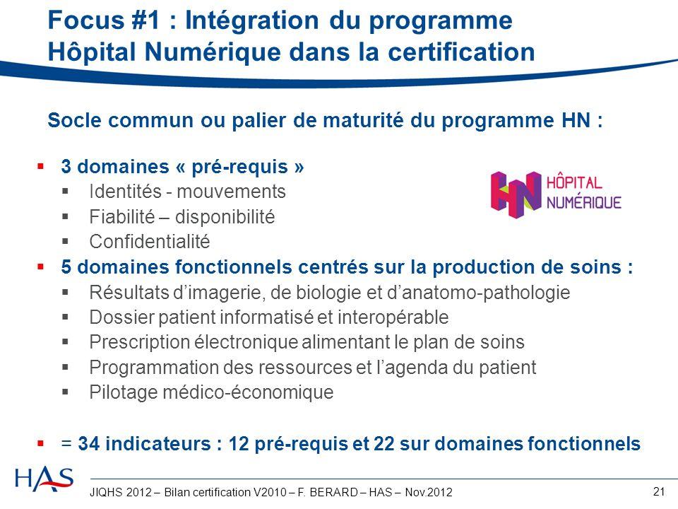Focus #1 : Intégration du programme Hôpital Numérique dans la certification