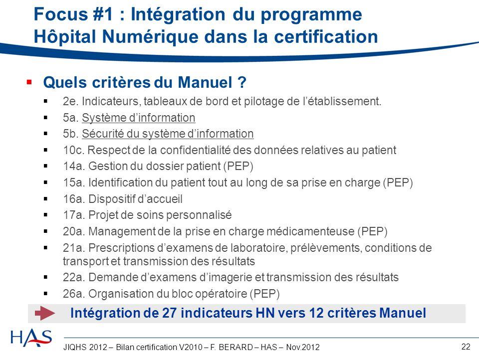 Intégration de 27 indicateurs HN vers 12 critères Manuel