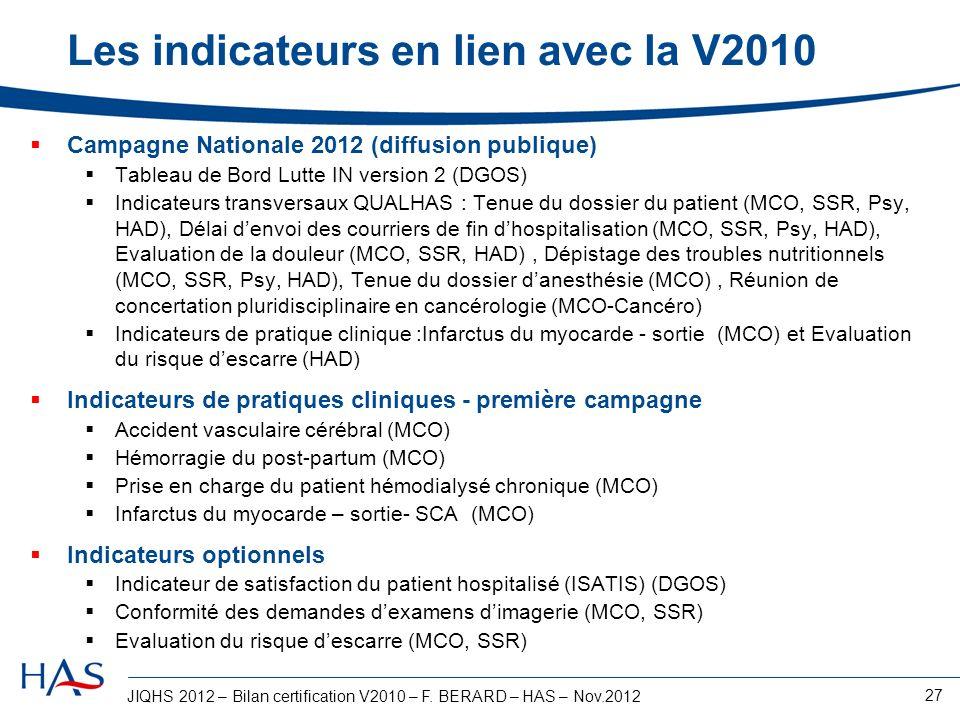 Les indicateurs en lien avec la V2010