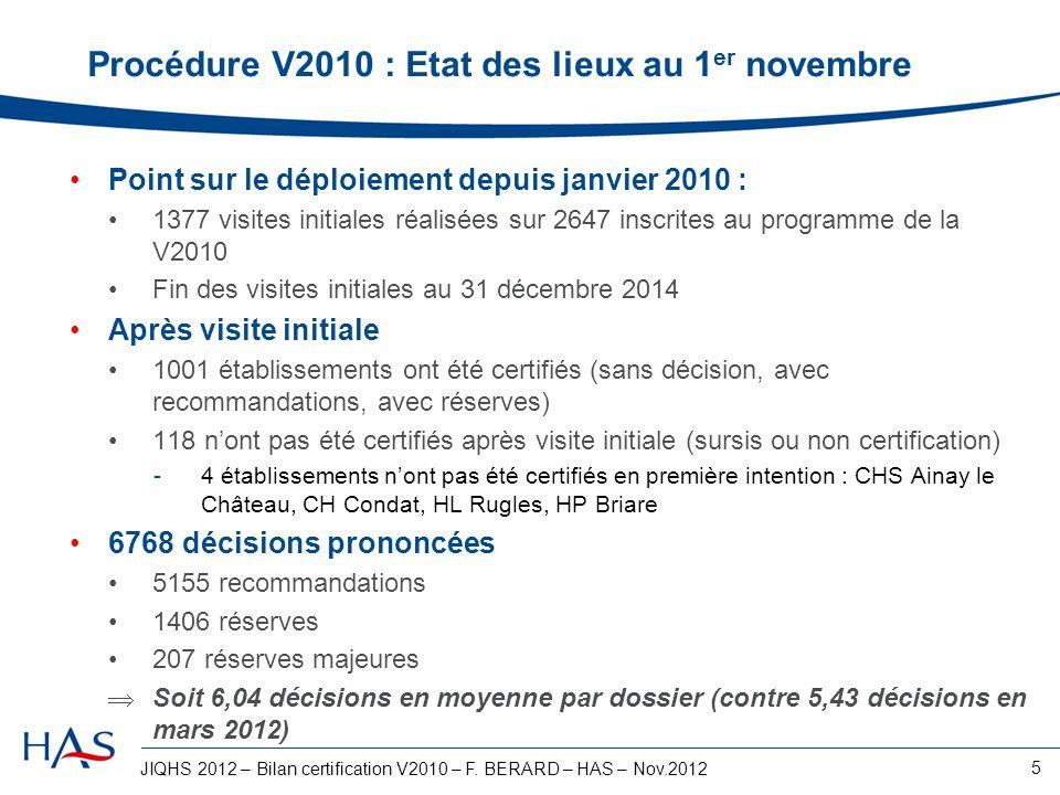 Procédure V2010 : Etat des lieux au 1er novembre