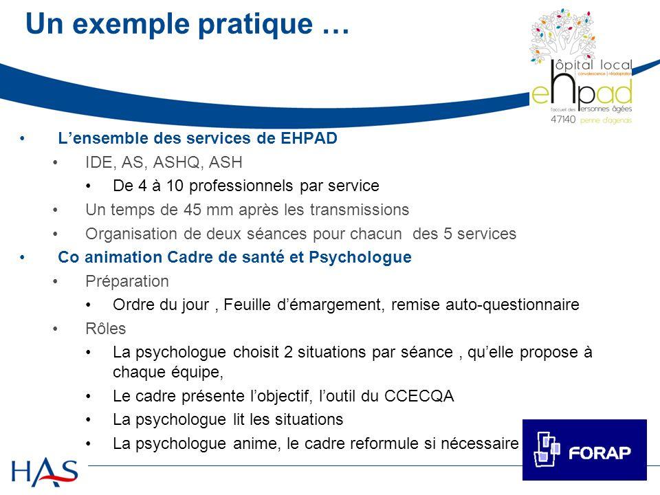 Un exemple pratique … L'ensemble des services de EHPAD