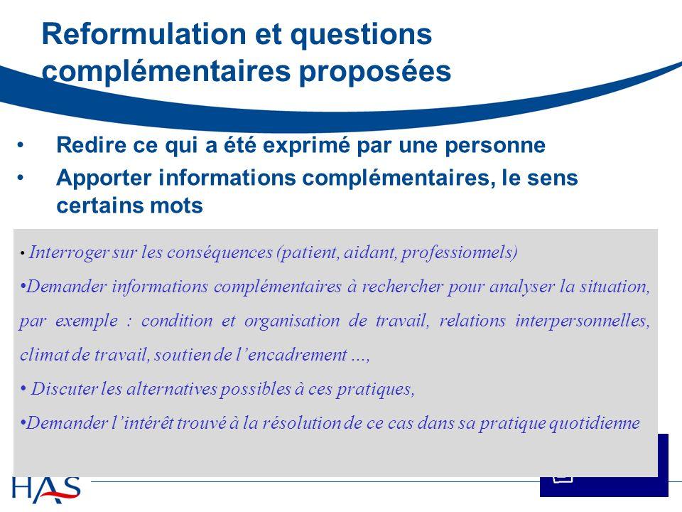 Reformulation et questions complémentaires proposées