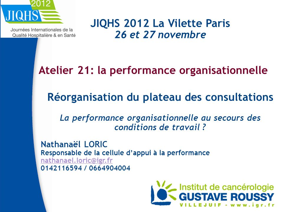 Atelier 21: la performance organisationnelle