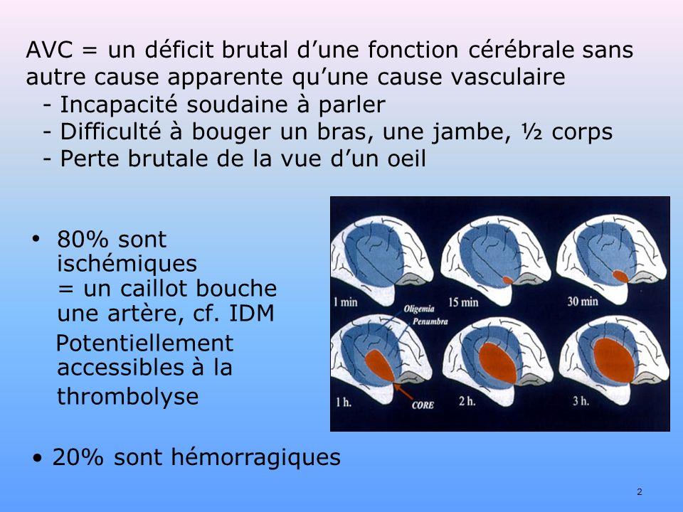 80% sont ischémiques = un caillot bouche une artère, cf. IDM