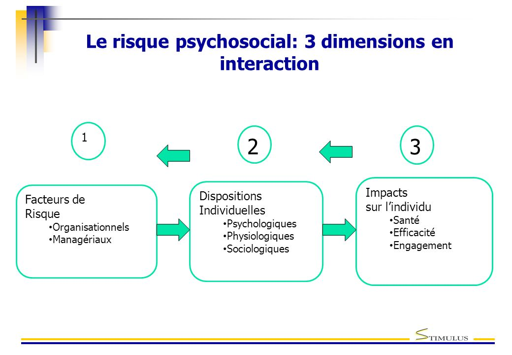 Le risque psychosocial: 3 dimensions en interaction