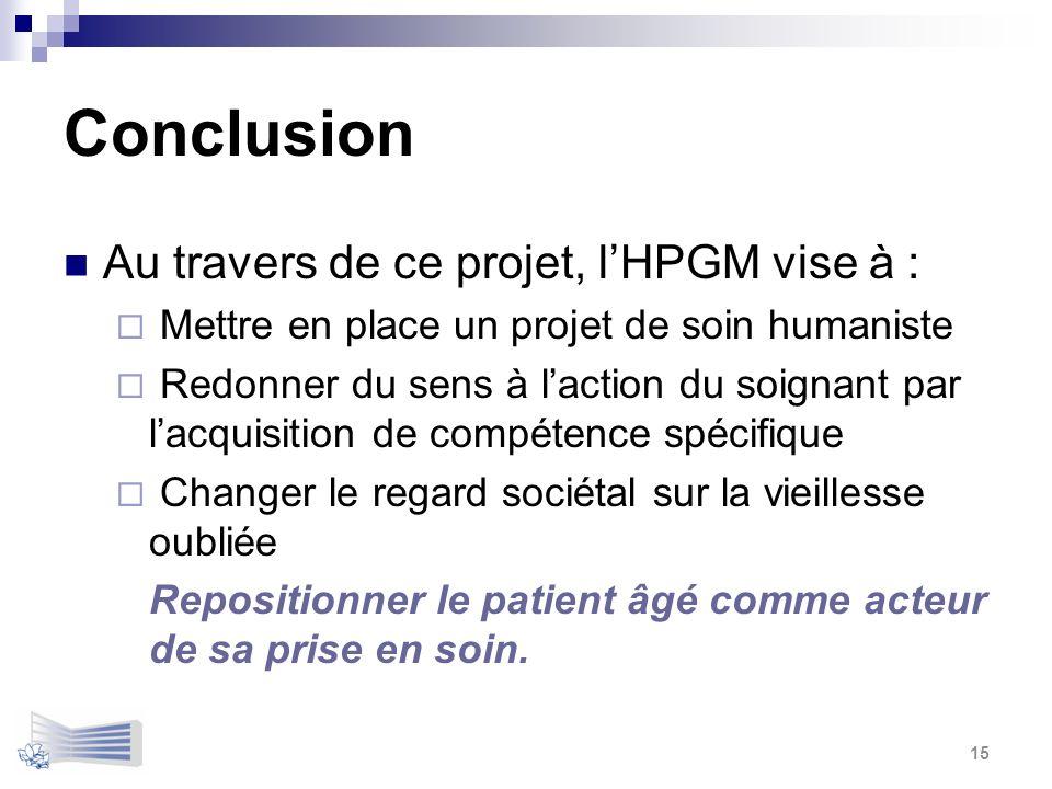 Conclusion Au travers de ce projet, l'HPGM vise à :