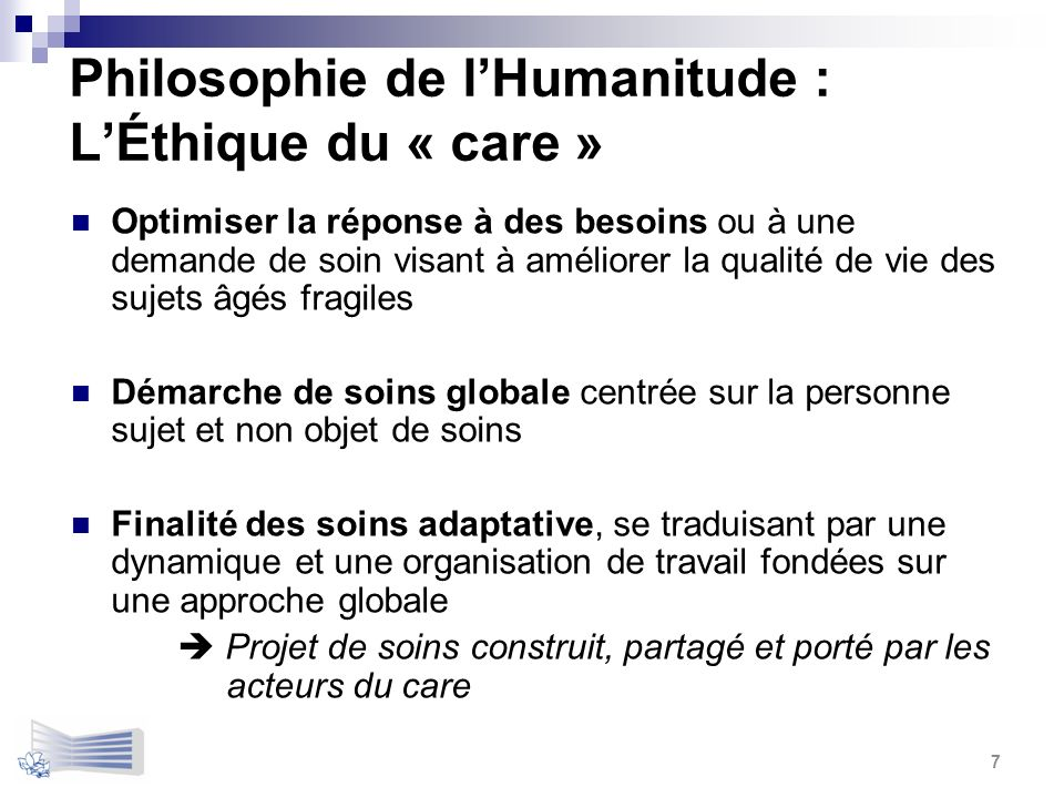 Philosophie de l'Humanitude : L'Éthique du « care »