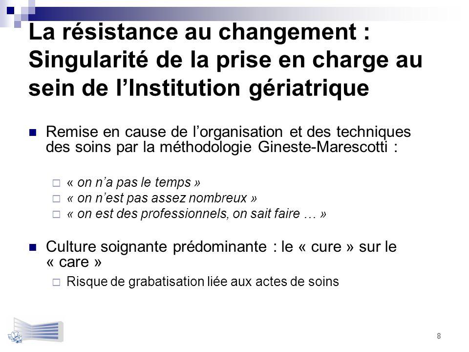 La résistance au changement : Singularité de la prise en charge au sein de l'Institution gériatrique